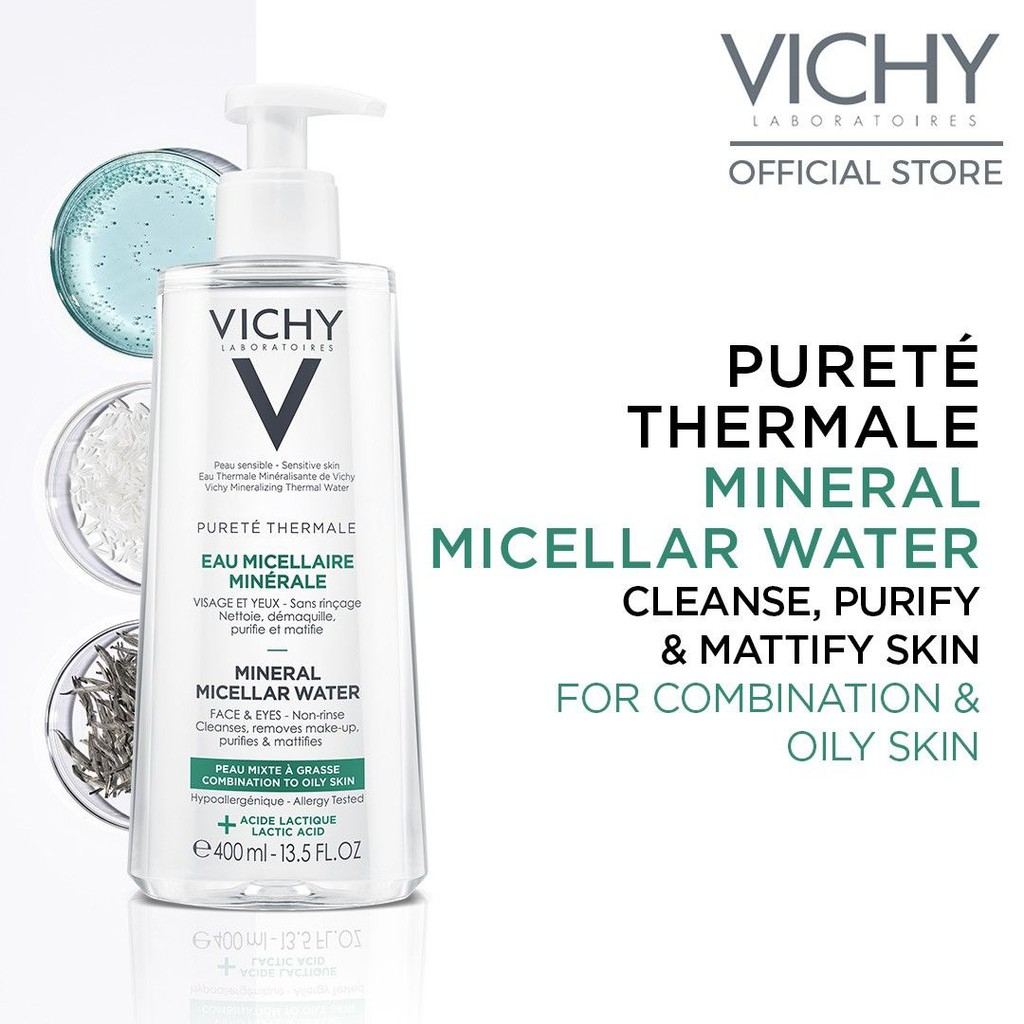 Vichy Purete Thermale Mineral Micellar Water 400ml | Lactic Acid & Vichy Volcanic Water for Combination to Oily Skin