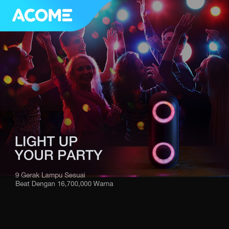 ACOME Super Bass Speaker Bluetooth 5.0 20W IPX7 Waterproof RGB Light Rhyme Rave Party A20