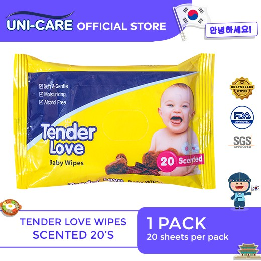 Tender Love Powder Scent Baby Wipes 20's Pack of 1