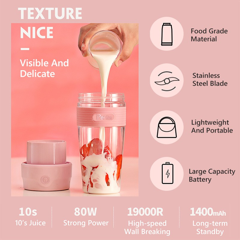 Perfin PG02 Pink Mini Portable Blender/Juicer Cup 300ML