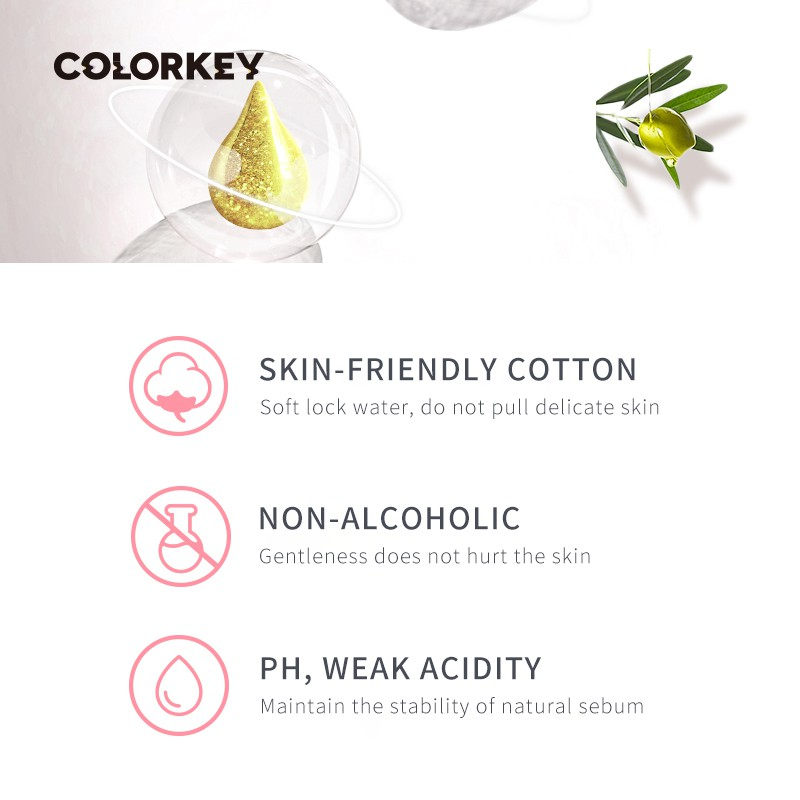 Colorkey Makeup Remover Wipes Portable Gentle Deep Cleansing Makeup Remover Wipes 40pcs