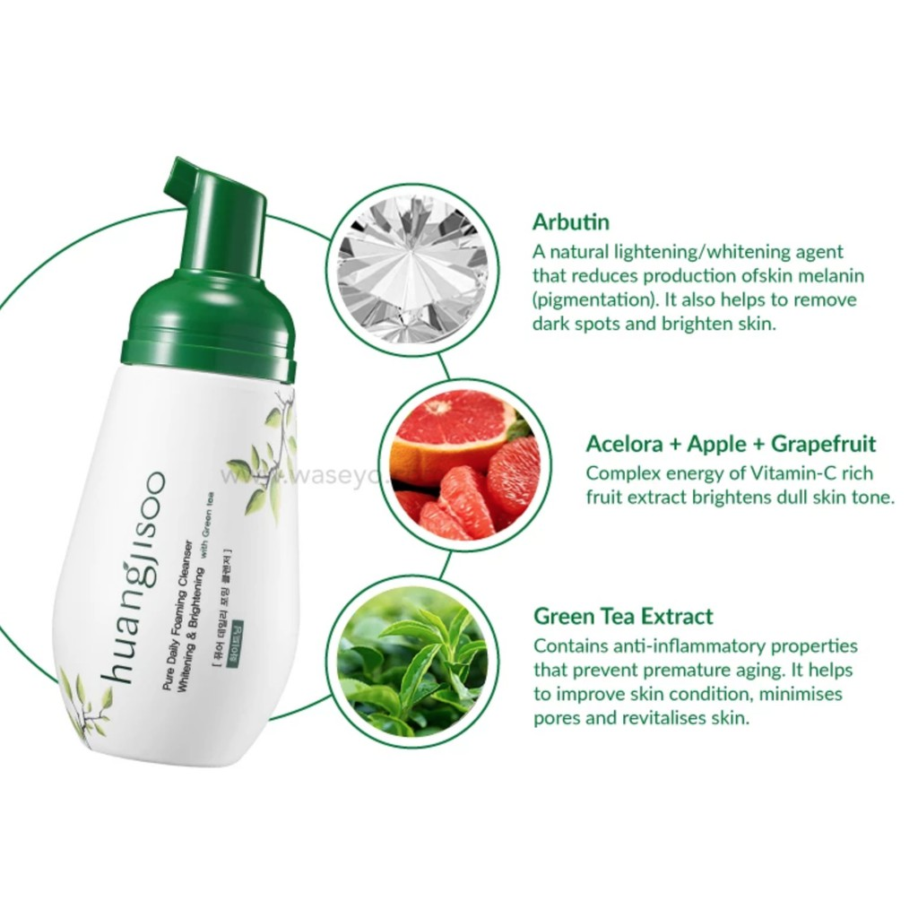 Huangjisoo Pure Daily Foaming Cleanser - Suitable for 5 different skin conditions - Waseyo