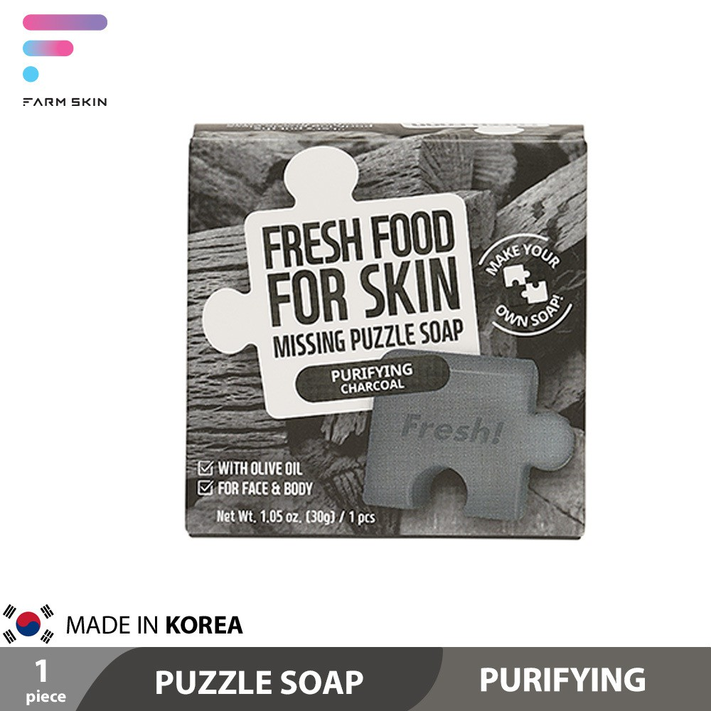 Farmskin Fresh Food Charcoal Puzzle Soap - Purifying Made in Korea