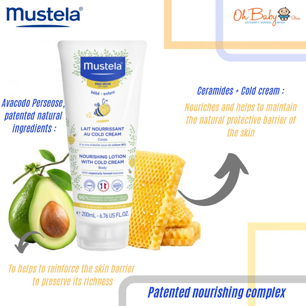 Mustela Nourishing Lotion with Cold Cream for Body - Dry Skin 200ml