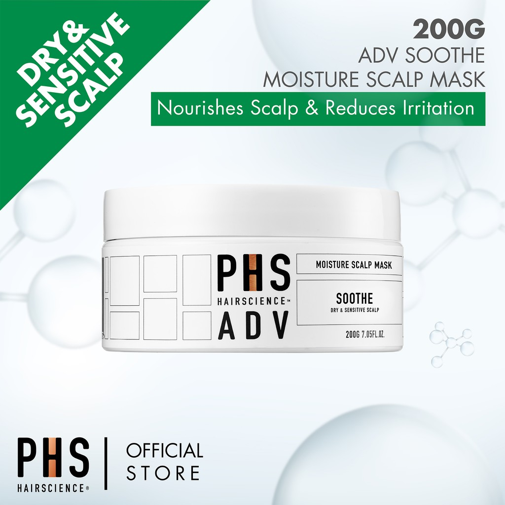 PHS HAIRSCIENCE ADV Soothe Scalp Mask 200g [For Sensitive/Dry Scalp, Nourish Scalp & Calm Inflammation]