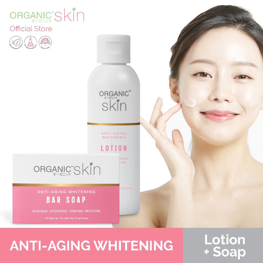 Organic Skin Japan AntiAging Whitening Soap and Anti Aging Body Lotion with SPF 30 Bundle