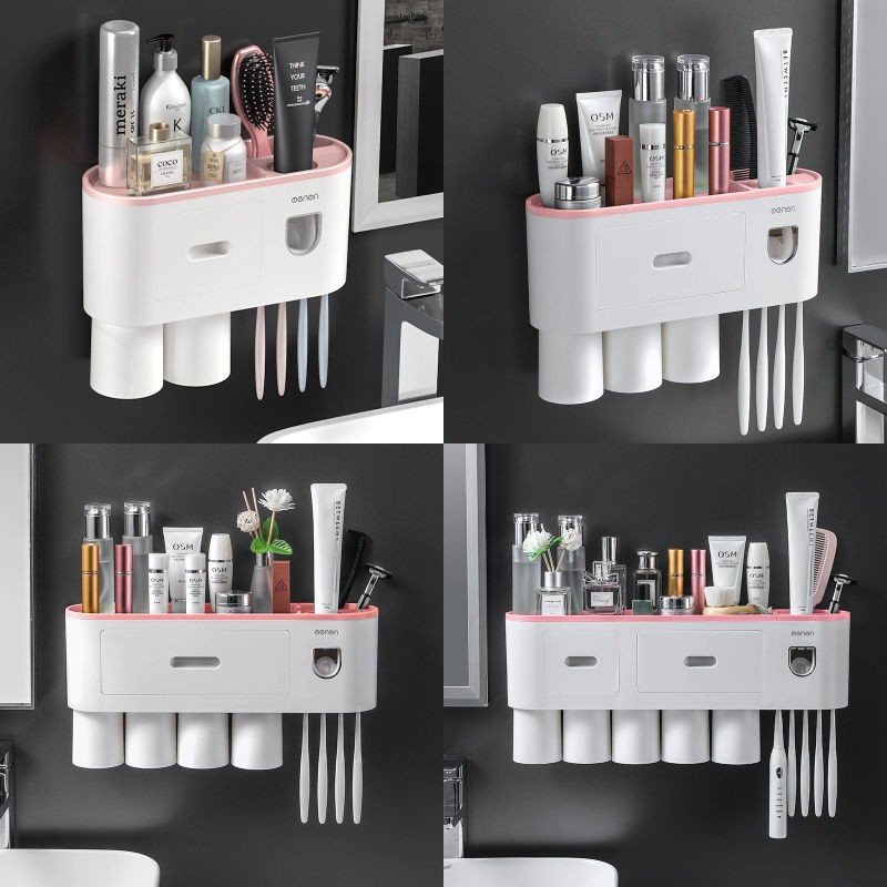 Oenen Bathroom shelf new creative toothbrush holder multifunctional wall-mounted high-end household items convenient and stylish