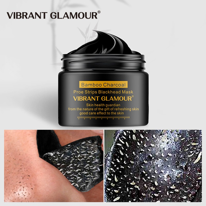 VIBRANT GLAMOUR Bamboo Charcoal Blackhead Remover Face Mask Peel-Off Acne Treatment Peeling Mask Deep Cleansing Shrink Pore Moisturizing Oil-Control Depth Clean Pore Dirt Skin Care 30g