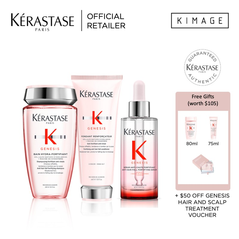 Kerastase Genesis Anti-HairFall Routine for Oily Greasy Hair or Dry Hair with of Shampoo, Conditioner and Serum
