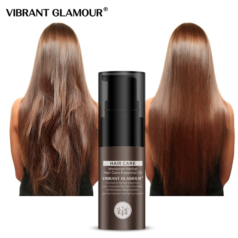 VIBRANT GLAMOUR Moroccan Argan Oil Hair Essential Oil Hair Treatment Keratin Nourish Repair Dry Hair Damaged Hair Oil for Dry Scalp with 100% Pure Essential Oils and Curly Hair Care 20ml
