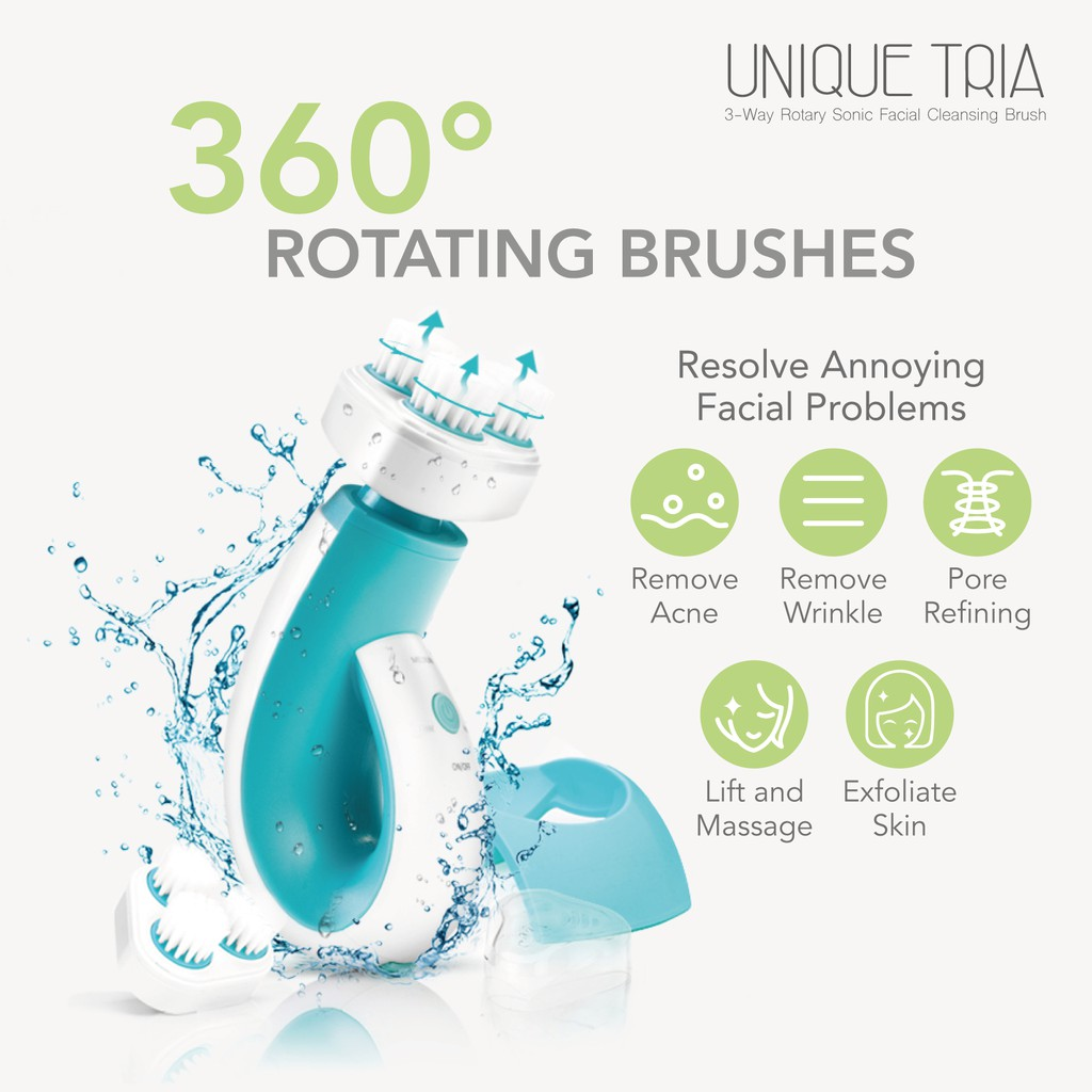 Ogawa Unique TRIA 3-Way Rotary Sonic Facial Cleansing Brush
