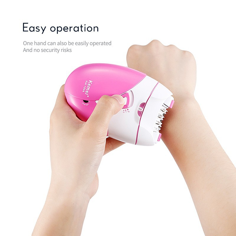 Kemei Women Epilator Rechargeable Hair Removal Machine Electric Lady Shaver for Bikini Body Face Underarm USB Charger