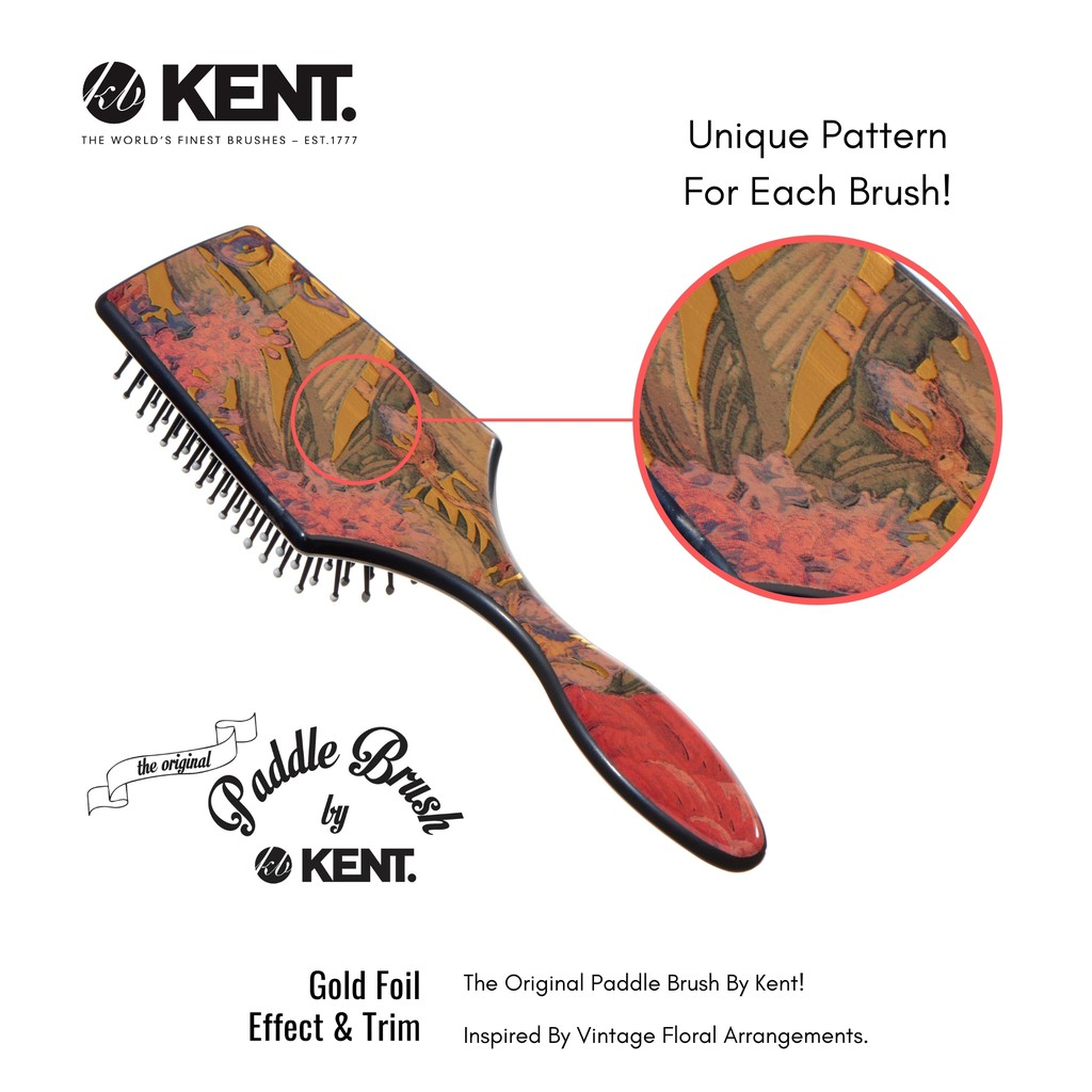 Kent Brushes LPB2 – The Original Paddle Hair Brush With Floral Gold Foil Effect