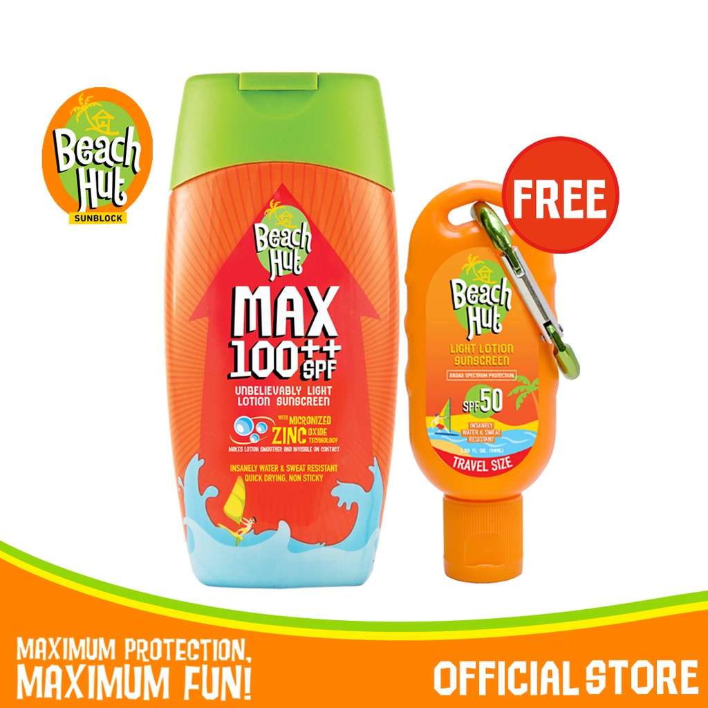 Beach Hut Sunblock Max 100 Sunscreen Lotion 100ml with SPF50 40ml with Carabiner