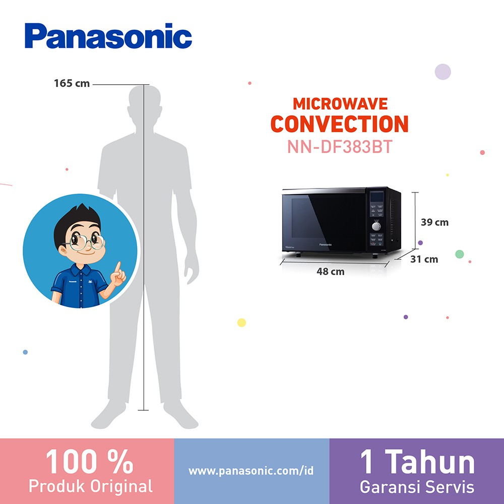 Panasonic Microwave 23L 1000W Convection Bake & Double Grill NNDF383BTTE Oven Pemanggang