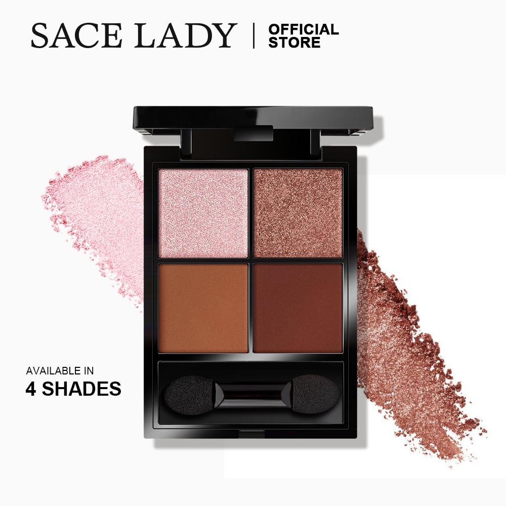 SACE LADY Shimmer Matte Eyeshadow Palette 4 Color Cosmetics Highly Pigmented Long-lasting Eye Shadow Make Up