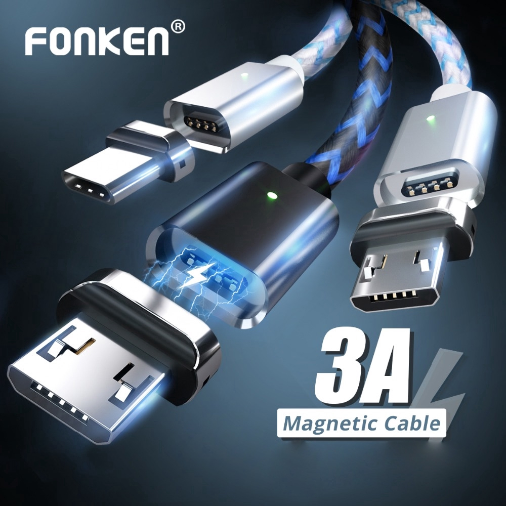 FONKEN Micro USB Type C Magnetic Cable 1M 2M Magnet USB Cable 3A Fast Charge for Phone Data Wire