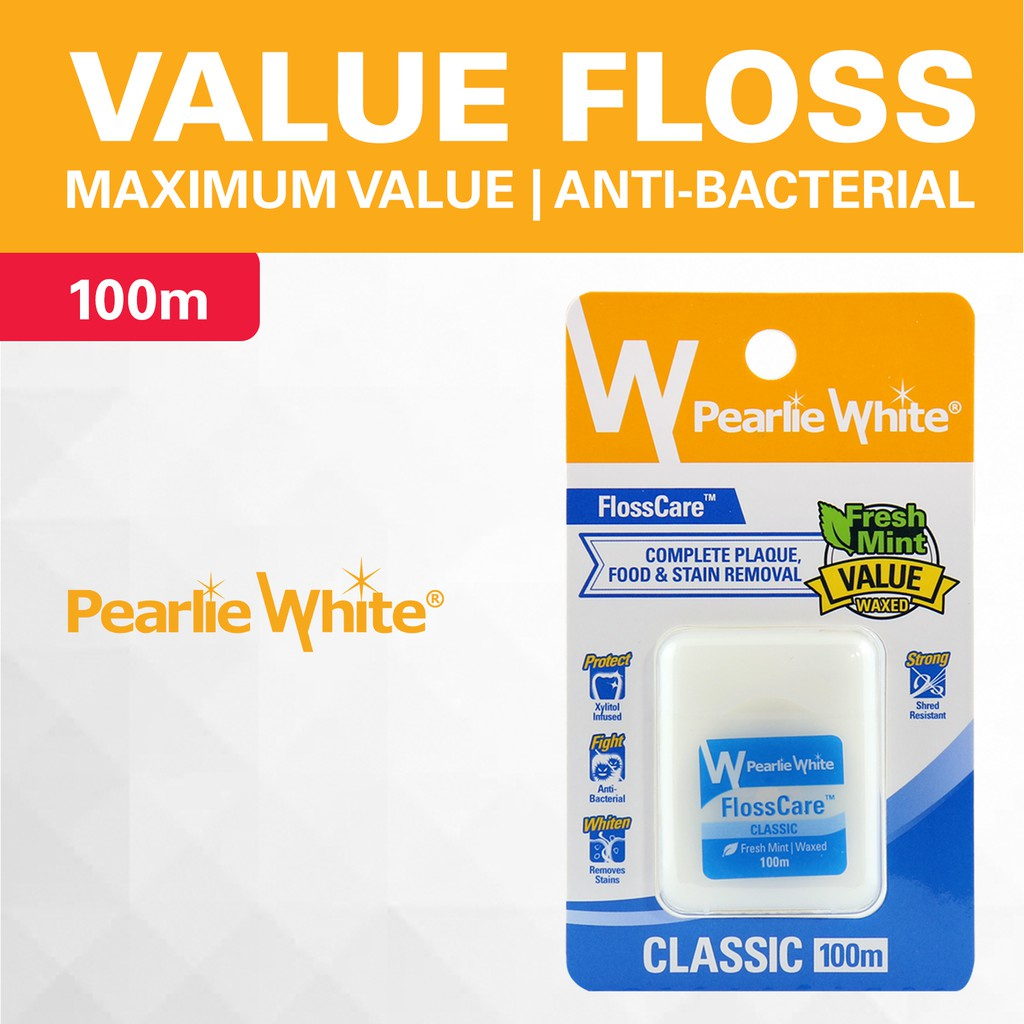 Pearlie White FlossCare Waxed Mint Floss 100m