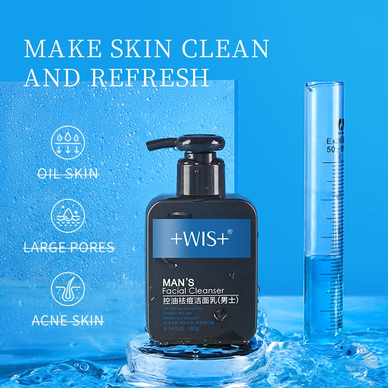 WIS Men's Facial Cleanser 180ml for Oily Skin Deep Cleansing Oil Control Anti-acne Face Cleanser for Men Daily Skincare Face Wash