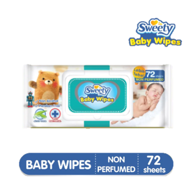 Sweety Baby Wipes Non Perfumed 72 Sheets x2