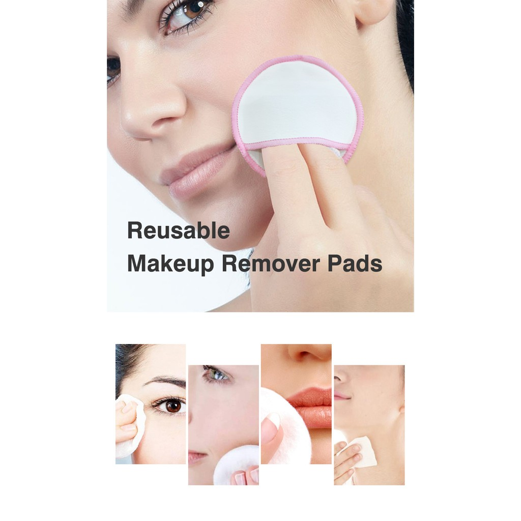[16Pcs] Reusable Makeup Remover Pads Cotton Face Cleaner and Eyes Make Up Remover Zero Waste Washable Pad for All Skin