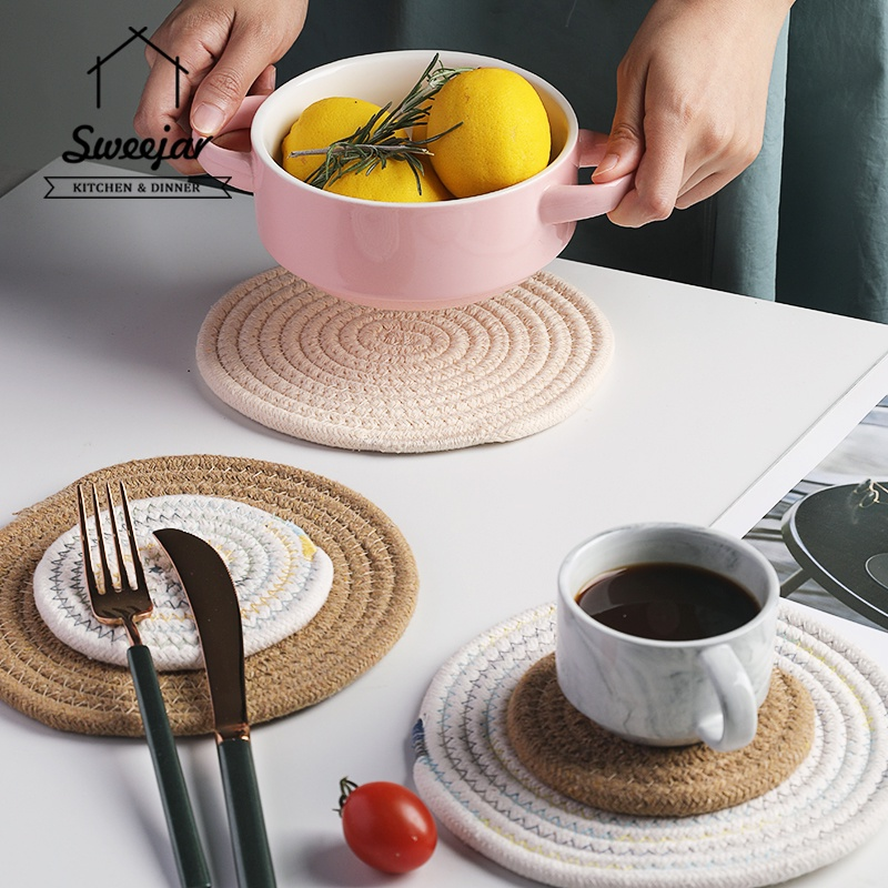 SWEEJAR 1Pc Woven Coaster Placemat for Pot Pan Cup Plate Insulation Non-slip Mat