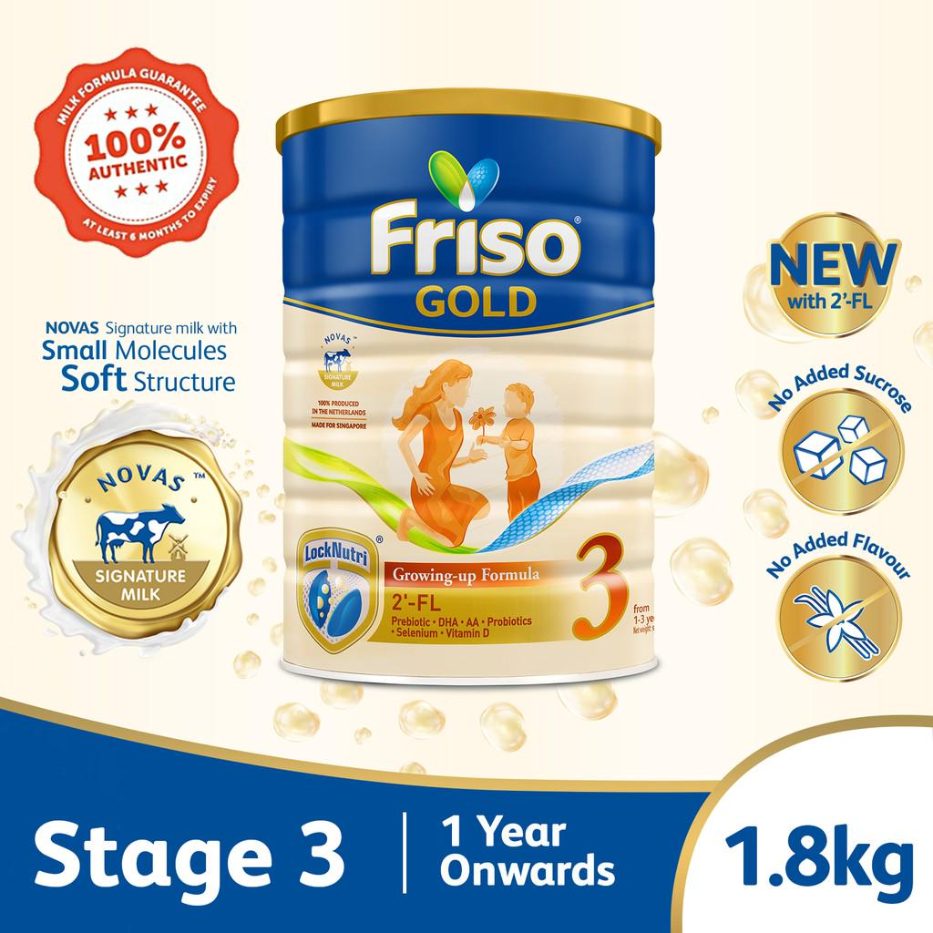 Friso Gold 3 Growing Up Milk with 2'-FL 1.8kg for Toddler 1+ years Milk Powder Bundle of 4