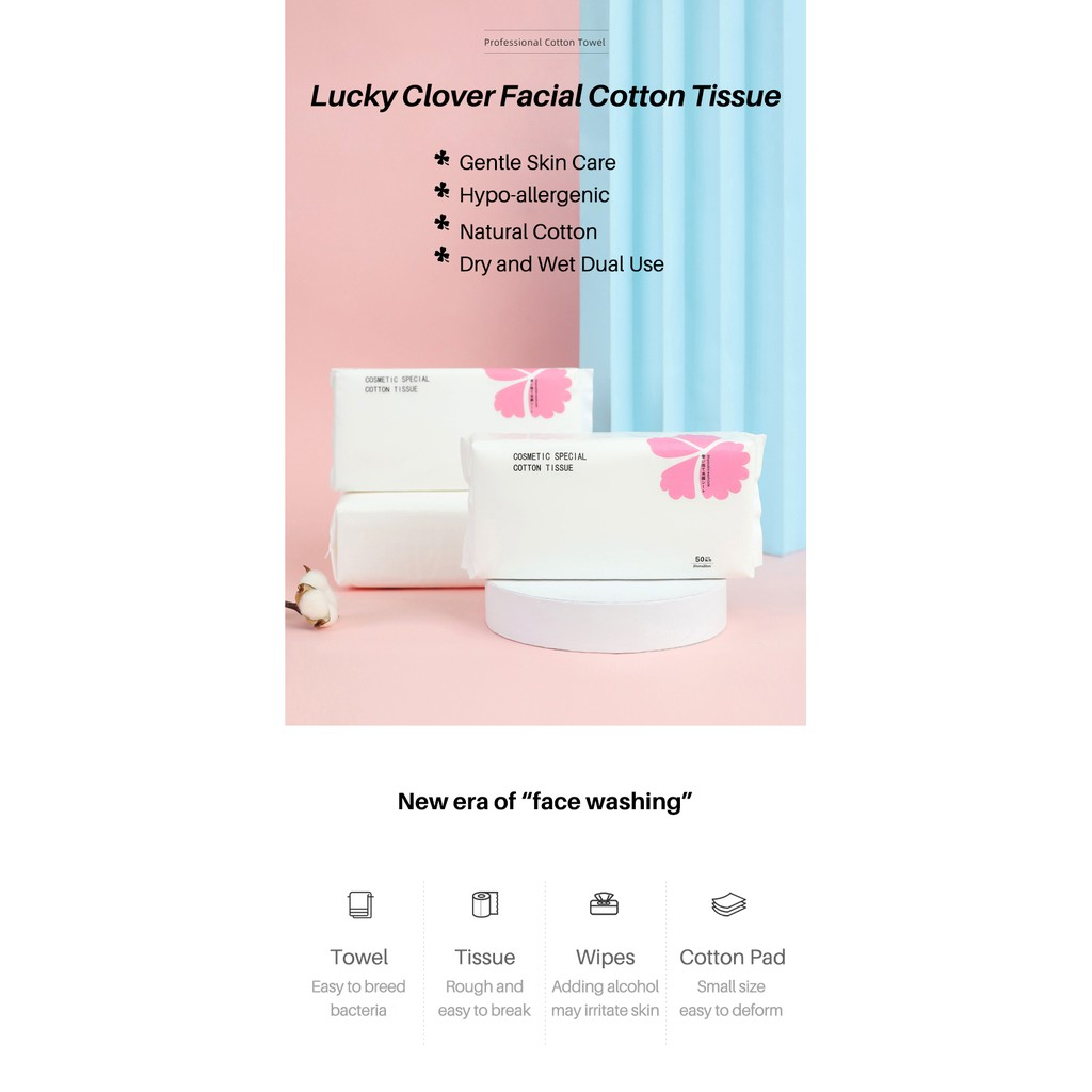 2 packages - Lucky Clover Facial Cotton Tissue Dry and Wet Dual Use Ultra Soft Pure Wipe Cleansing Towel  50 Sheets/pack