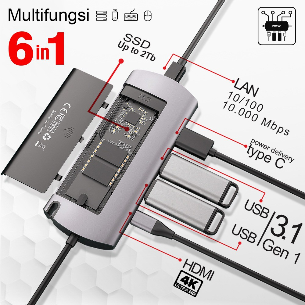 Converter Type C to USB HDMI LAN SSD 2TB Adapter 6 In 1 PX UCH-100