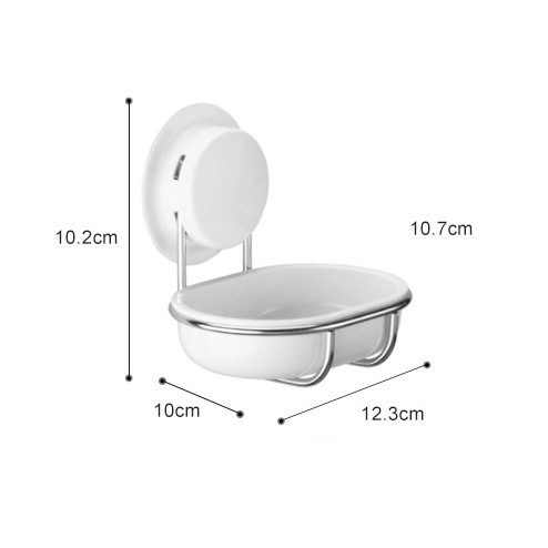 Garbath Vacuum Suction Soap Bar Dish Holder with Stainless Steel Frame, Bathroom, Kitchen Sink, Home, No Drill