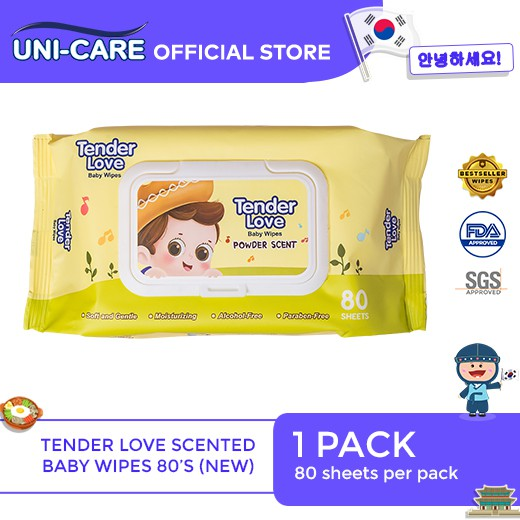 Tender Love New Powder Scent Baby Wipes Violin 80's Pack of 1