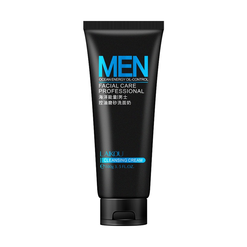 LAIKOU Men Facial Cleanser Natural Face Washing Exfoliating &Cleaser For Oily and Acne Prone Skin Oil Control Blackhead Remover 100g