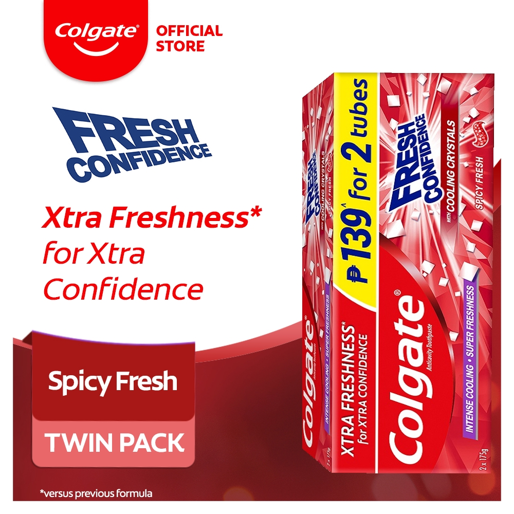 Colgate Fresh Confidence Spicy Fresh Toothpaste with Cooling Crystals 175g Twin Pack