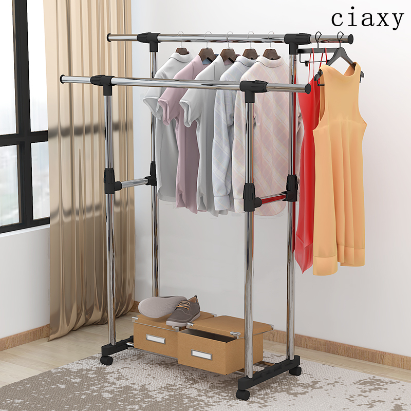 Adjustable Clothes Rack  Single & Double Pole Hanging Laundry Rack Stainless Steel bedroom Coat Stand Drying Shelving hanger with wheels