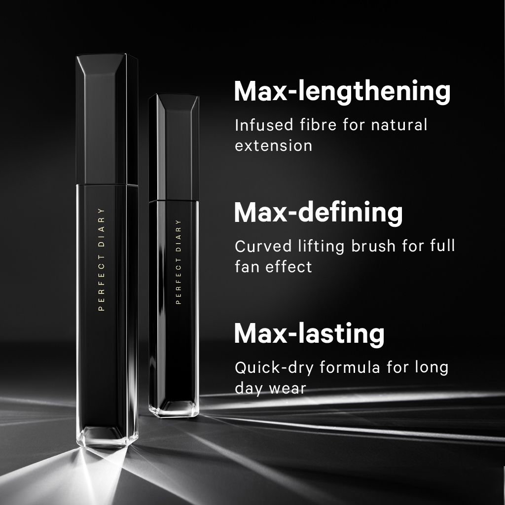 Perfect Diary Extra Lengthening Mascara Maskara & Eye Max Mascara Eye Makeup Eye Lash Mascara Waterproof Long Lasting Smudge-proof