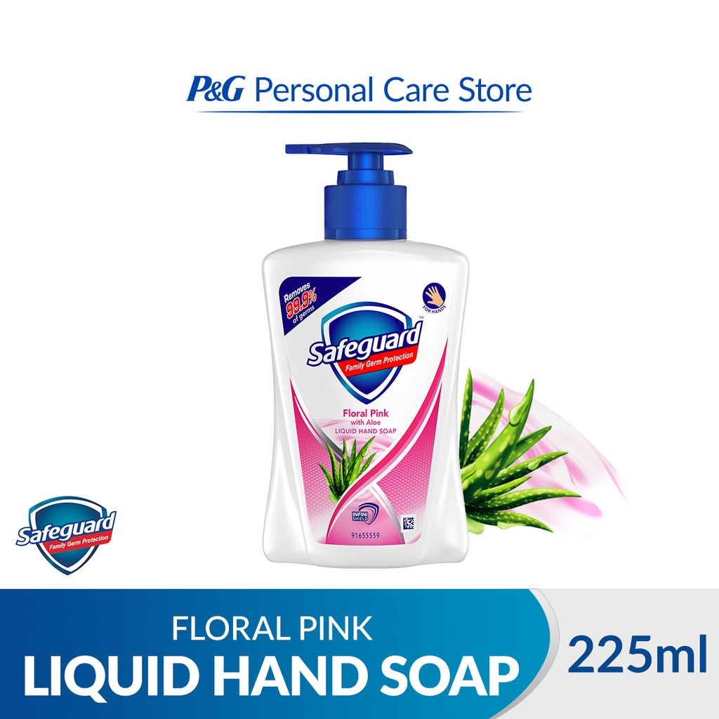 Safeguard Family Germ Protection Liquid Hand Soap Floral Pink with Aloe 225ml