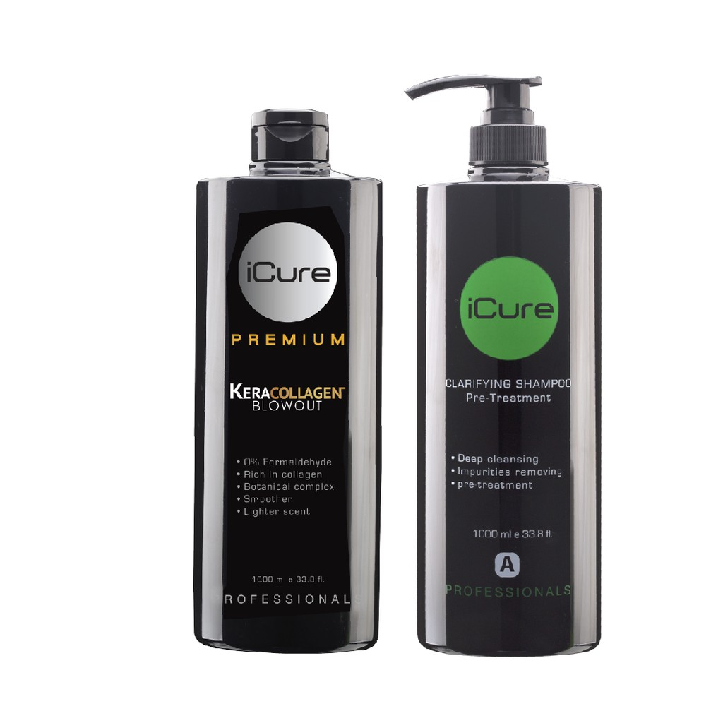 iCure Clarifying Shampoo and iCure Keracollagen Blowout 1000ml