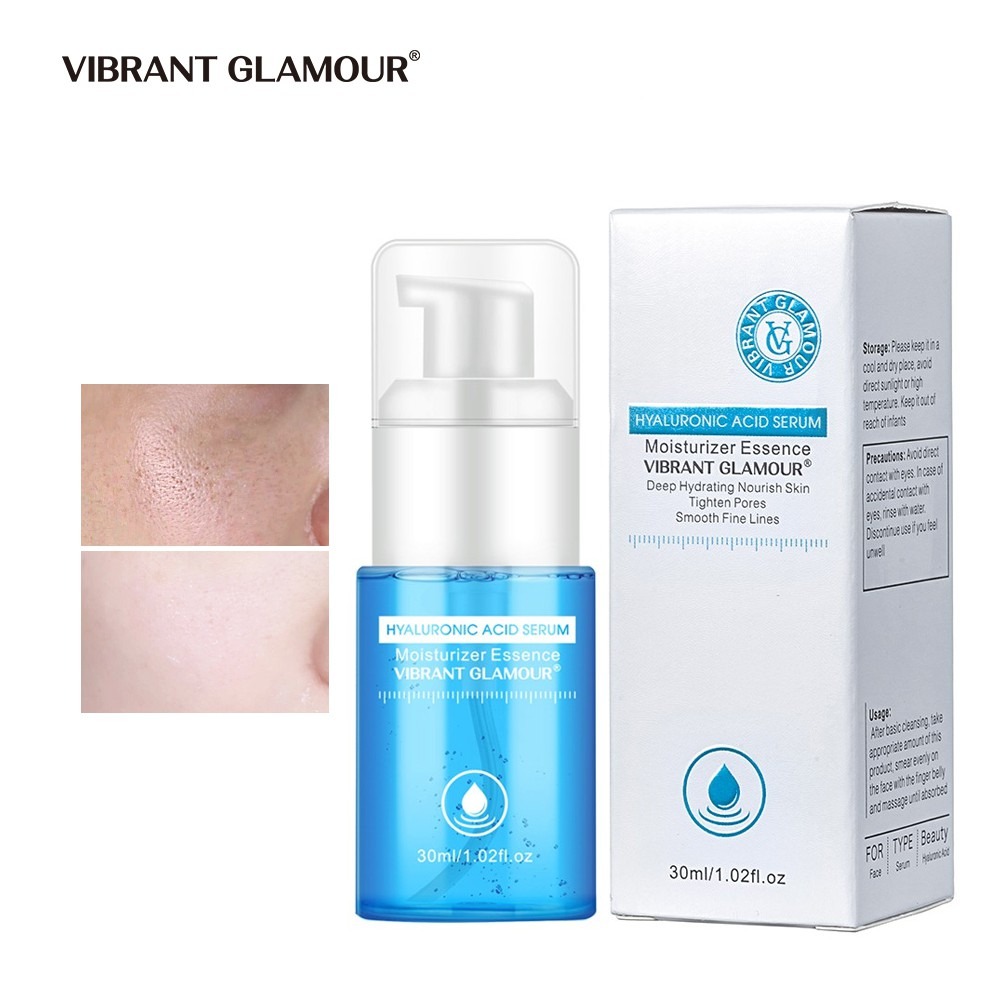 VIBRANT GLAMOUR Pure Hyaluronic Acid Serum Essence Moisturizes Hydrates Acne Treatment Plumps Skin,Whitening Shrink Pores Reduces Wrinkles, Anti Aging Face Serum Natural Repair Solution Skin Care 30ml
