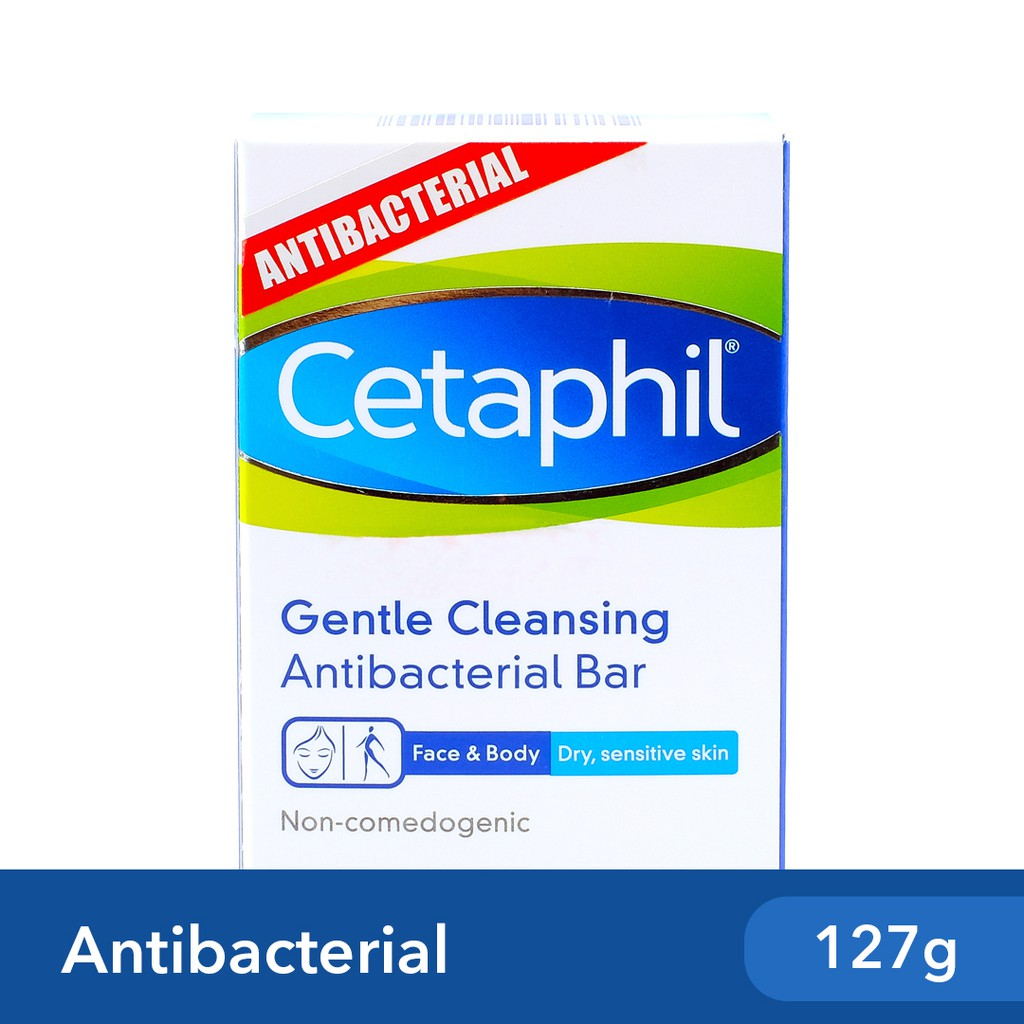 Cetaphil Antibacterial Bar 127g [For Dry and Sensitive Skin / Cleansing and Gentle Soap]