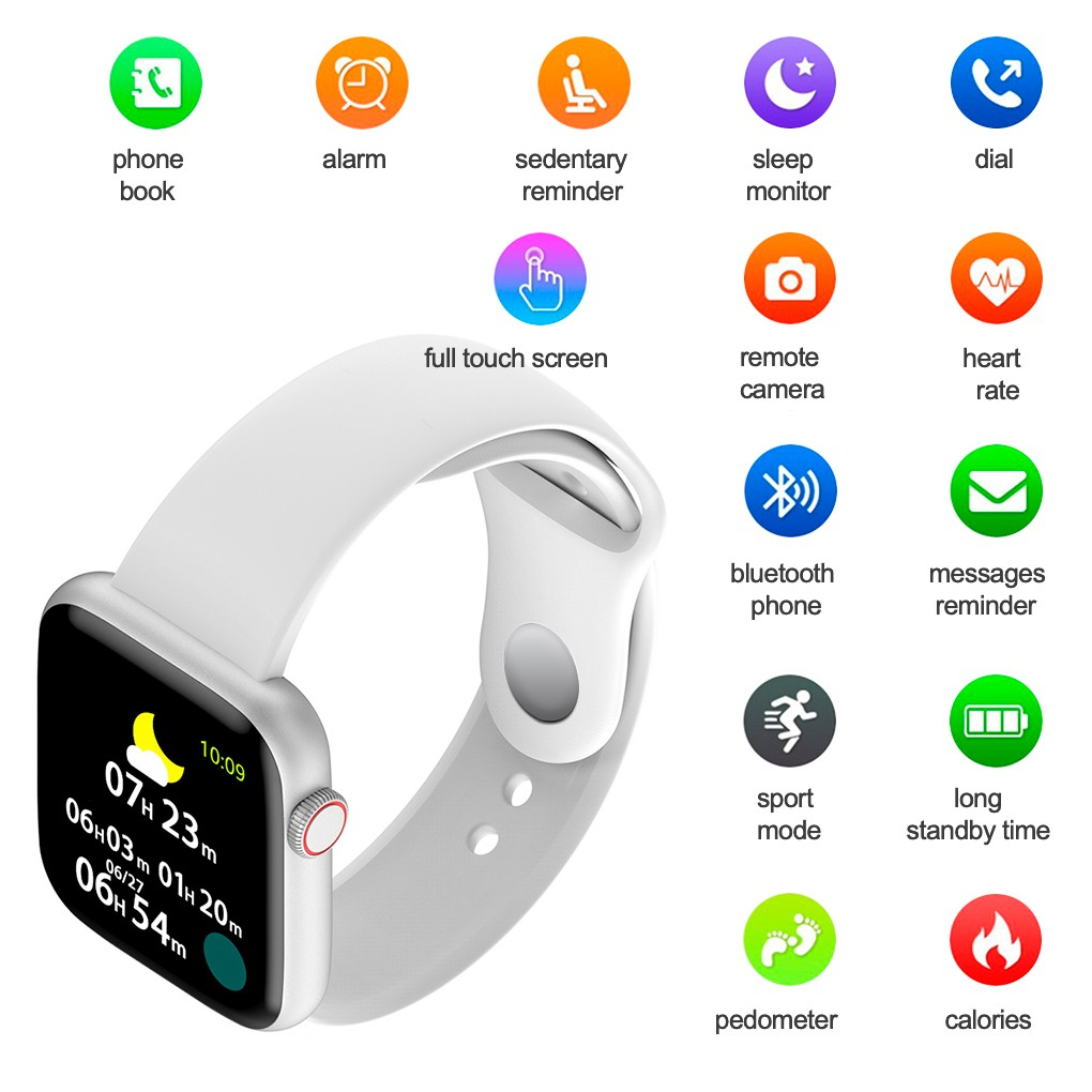 INONE Smartwatch S6 Touch Screen Fitness Tracker Smart Watch with Heart Rate Bood Pressure Monitor