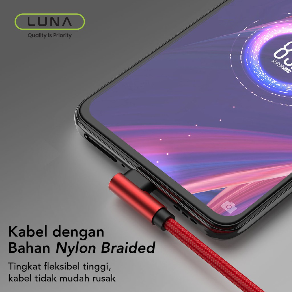 Luna Kabel data game / Gaming mobile Quick Charging Micro Usb Type C Cable Fast Charging 652