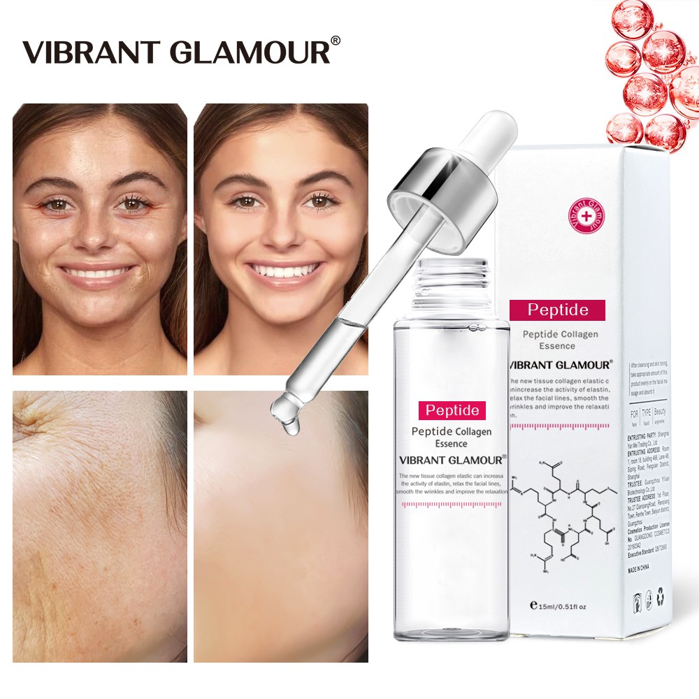 VIBRANT GLAMOUR Anti-Aging Face Serum Collagen Peptides Vitamin C and E Wrinkle Lifting Firm Whitening Essence Ficial Serum  Argireline Peptide Complex for Anti Aging Vitamin E, Brightening and Skin Tightening Skin Care 15ml