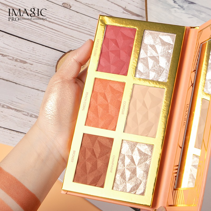 IMAGIC Highlighter Blush Facial Cosmetic 6 Color Palettes
