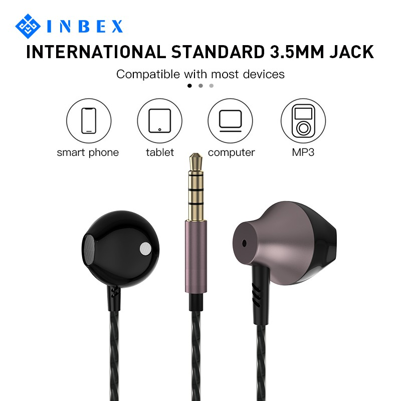 INBEX Headset/Headset Stereo/Double Speaker with Mic Universal/Metal 3.5mm Jack/Multi-function butto