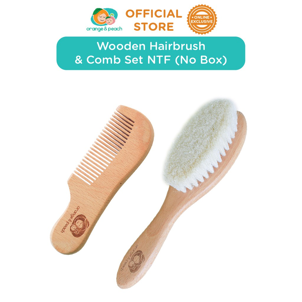 Orange and Peach Wooden Hairbrush Set with Comb NTF Item No Box