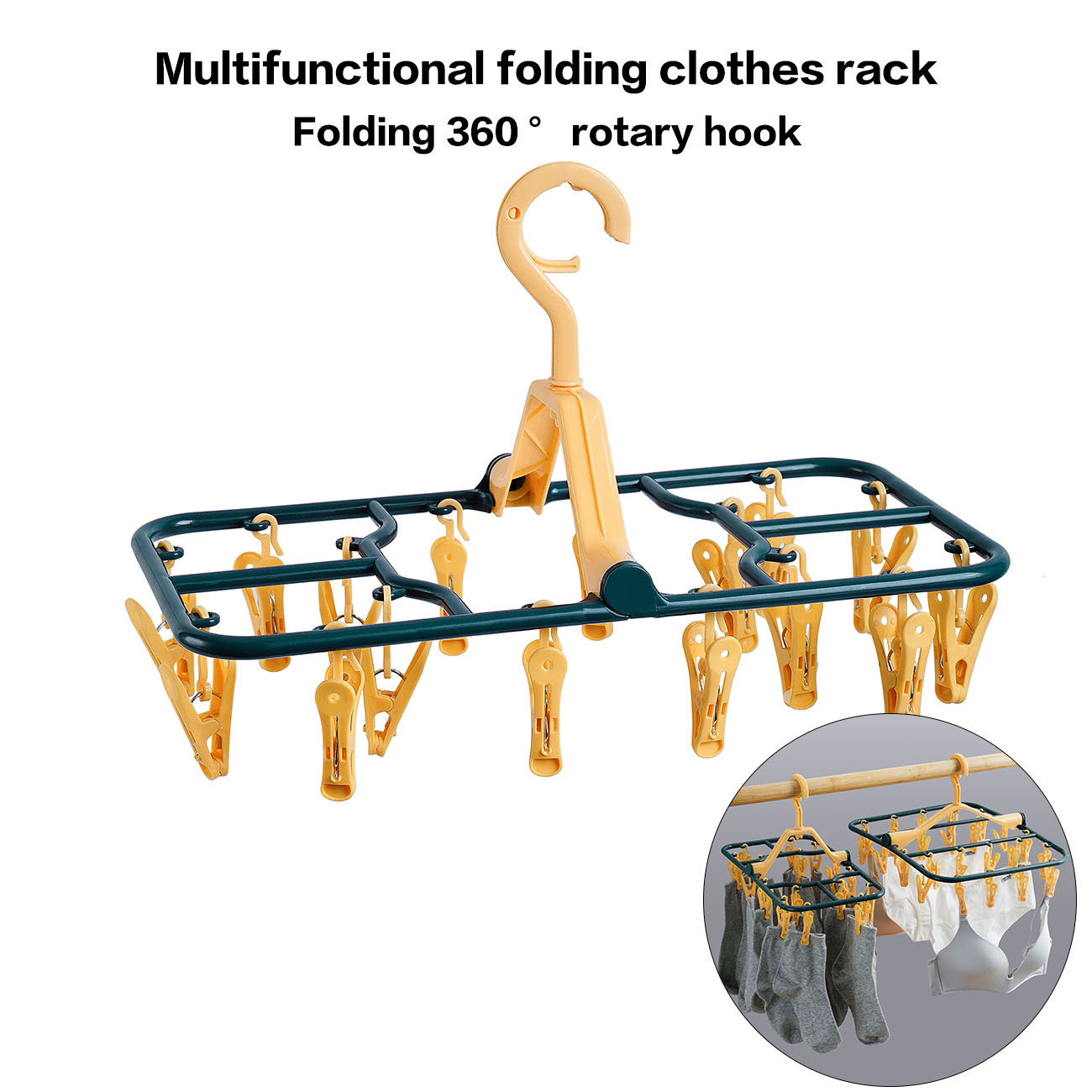 12/16/24 Clips Foldable PP Clothes Drying Rack Hanger