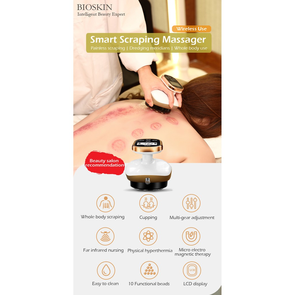 BIOSKIN Smart Wireless Scraping Massager Cupping EMS Vacuum Suction Guasha Fat Burner Body Slimming Anti Cellulite Therapy Tool