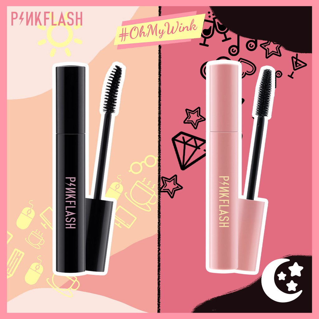 PINKFLASH Day&Night Lengthening and Volume Waterproof Mascara Fiber-filled&Silicone wands