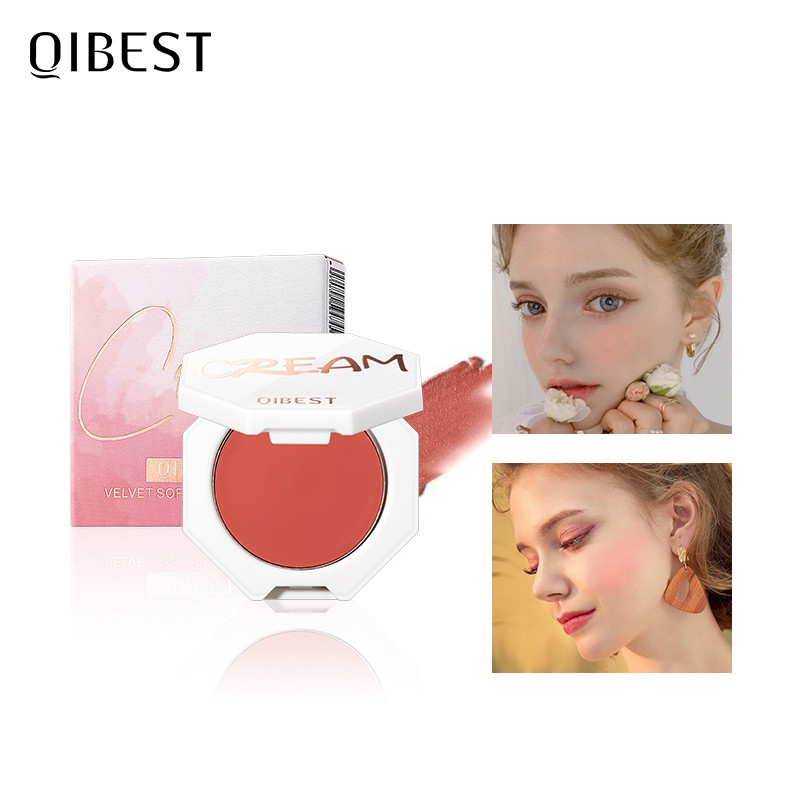 QIBEST Blush Cream Moisturizing 6 Color Options Natural Cheek Blusher On Face Cruelty-free