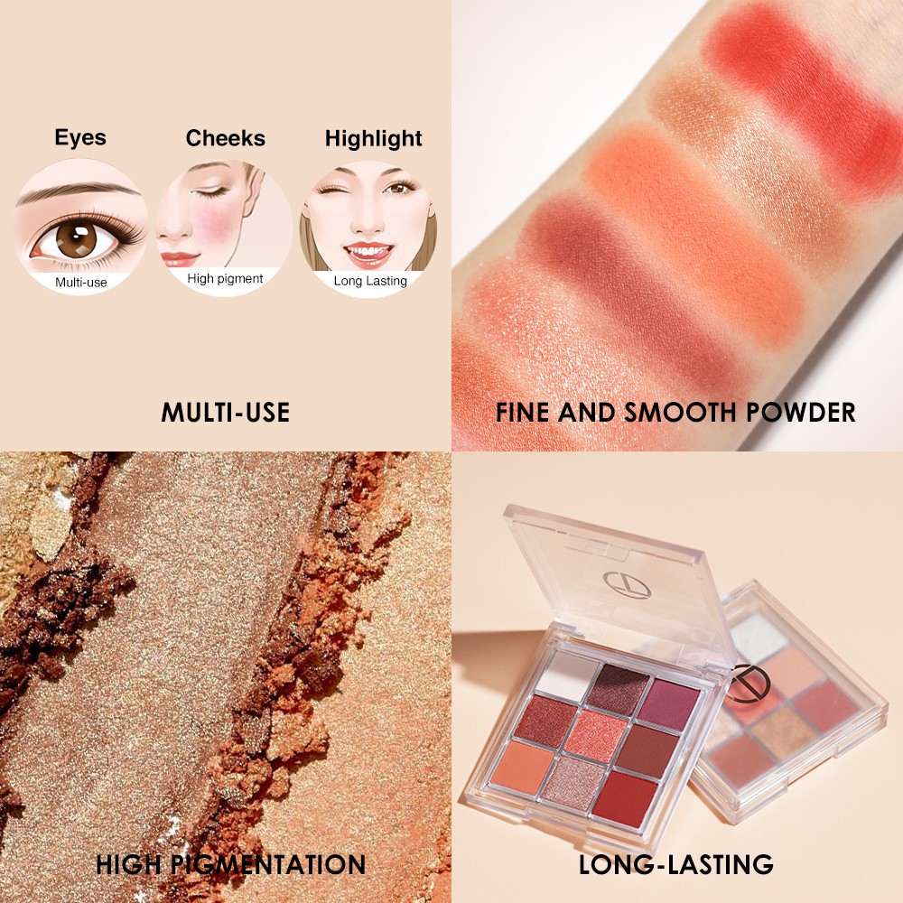 O.TWO.O 9 Shades Eyeshadow Palette Matte Pearlescent High Pigmented Long Lasting Eye Makeup